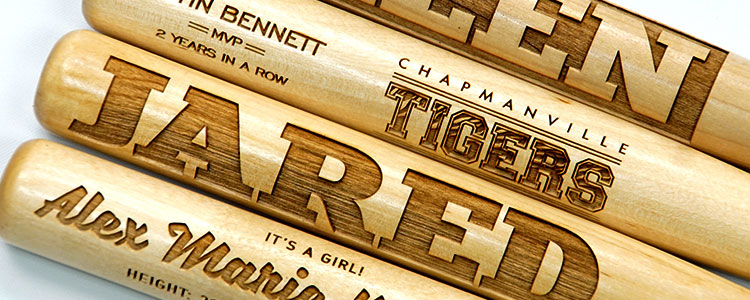 engraved wooden bats image for laser engraving blog